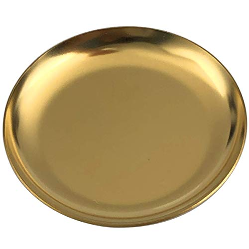 FREELOVE Stainless Steel Bathroom Sink Vanity Trays, Cosmetics Jewelry Organizer Soap Dish Decorative Trays(Gold 4, Round 4 inch)