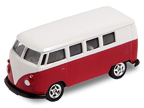 Welly VW Bus Bulli Modellauto 7,5 cm Modell Volkswagen 1:60 Bully Minibus Oldtimer (56/0076 VW Bus T1 Mini rot)