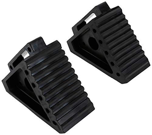 MAXXHAUL 70472 Solid Rubber Heavy Duty Black Wheel Chock, 8' x 4' x 6'- Pair