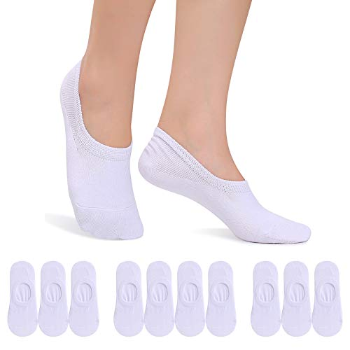 FALARY Füßlinge Herren Damen Footies Unsichtbare Kurze 10 Paar Sneaker Socken Großes Silikonpad Verhindert Verrutschen_Weiß_43-46