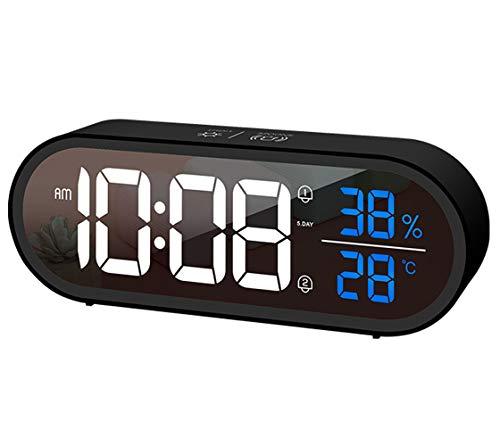 AIKURIO Digitaler Wecker, wiederaufladbare LED-Desktop-Uhr mit Sprachsteuerungs-Schlummerfunktion, Anzeigezeit, Temperatur und Luftfeuchtigkeit