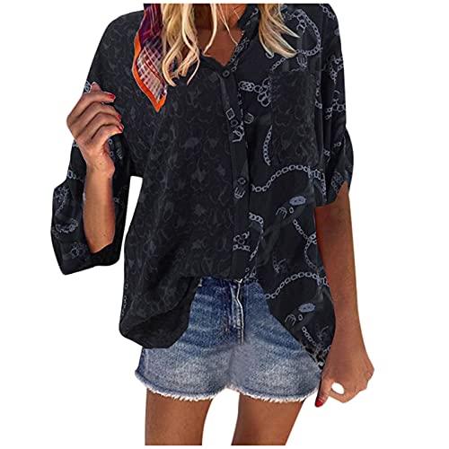 Xiangdanful Langarmshirts Damen Leopard Spleißen V-Ausschnitt Bluse Lässige Tuniken Drucken Freizeithemd Casual Tops Langarm Print T-Shirt Bluse Tshirt Hemdbluse Oberteile