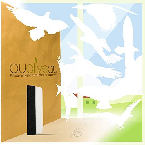 Qualiveau® 40cm Große Aufkleber zum Schutz vor Vogelschlag | Komplettset mit Rakel (Weiß)