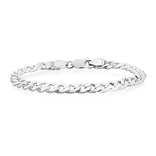 Verona Jewelers 7.5MM, 8MM 9.2MM Sterling Silver Curb Cuban Link Chain Bracelet for Men- 925 Sterling Silver Bracelet, Made in Italy (7.5MM-9 Inch)