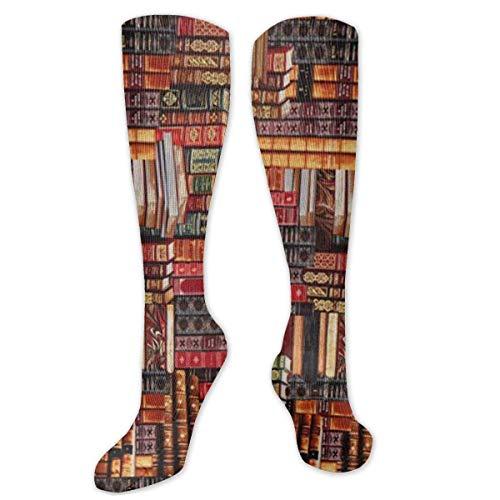 QUEMIN Books Socks For Men & Women Funny Crazy Running Athletic Travel Sports Over The Calf Socks (50 Cm)