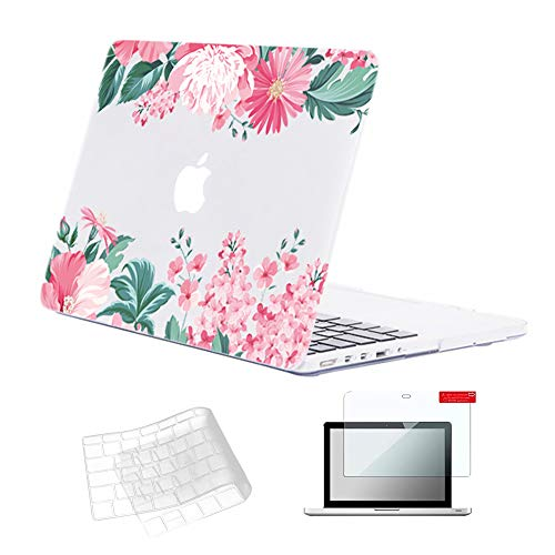 Se7enline Clear MacBook Pro 13 Inch Case A1425/A1502 Crystal Shell 2012-2017 Hard Case with Retina Display No CD-ROM Laptop Covers for MacBook Pro 13.3 with TPU Keyboard Cover,Screen Protector, Pink
