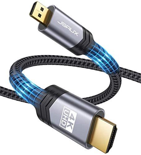 JSAUX Cavo Micro HDMI 4K@60Hz 2M, Cavo Micro HDMI a HDMI 2.0 ad Alta Velocità con Ethernet, UHD 4K, 3D, ARC, Cavo HDMI D a HDMI A per Raspberry Pi 4, Gopro Hero 8/7/6/5, Canon, Nikon B500, Sony-Grigro