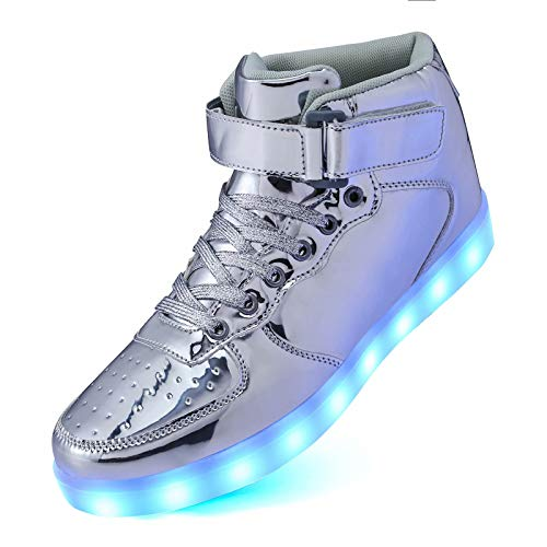 Mould King High Top LED Light Up Shoes USB Rechargeable Glowing Luminous Flashing Sneakers for Toddler Boys Girls Unisex Men Women on Festivals, Thanksgiving, Christmas, New Year, Party, Dance, Show.