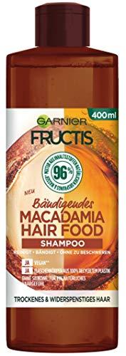 Garnier Fructis Hair Food Shampoo, Bändigende Macadamia, vegane Formel, für trockenes, widerspenstiges Haar, 400 ml