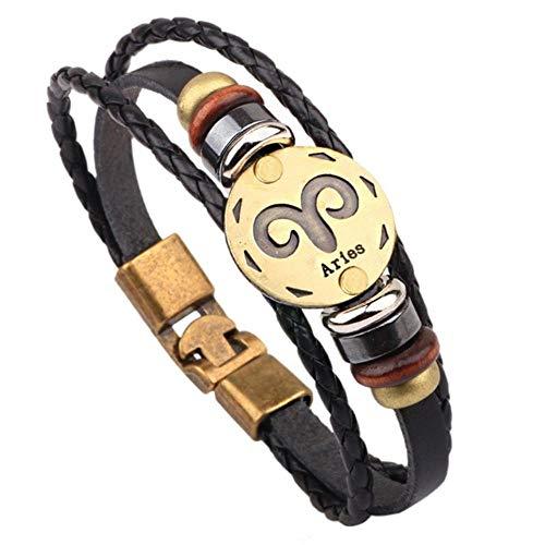 ASIG Vetersluiting Lederen Armband Christus Bijbel Kruis Jezus Bedel Armband & Bangles voor Mannen Vrouwen Weven Sieraden, Ram