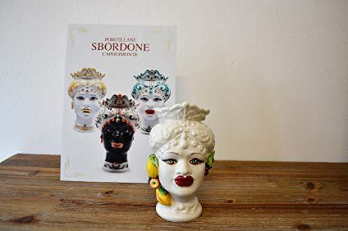 generica Testa di Moro in Porcellana H. 16 Donna TM10/2 Made in Italy SBORDONE