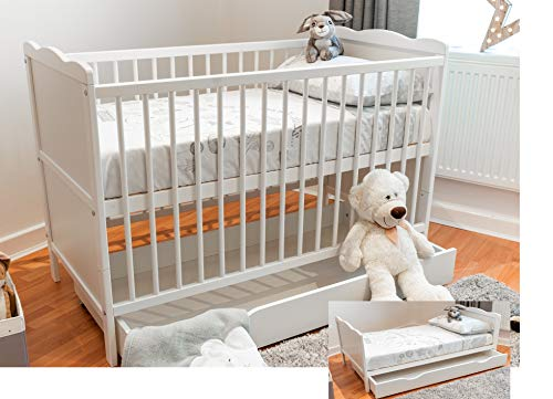 White Wooden Full Size 140x70cm Baby Cot Bed with Drawer and a Mattress