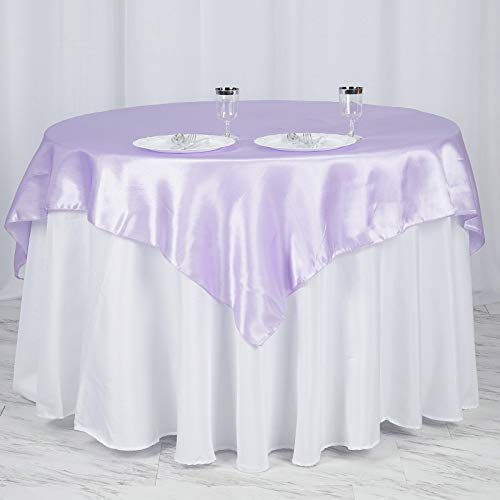 Efavormart 60' Satin Square Tablecloth Overlay for Wedding Catering Party Table Decorations Lavender Square Tablecloth Cover