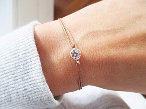 Armband mit CZ Diamant 925er Sterlingsilber Personalisiert | Silberarmband Minimalistisch Filigran Dezent Hellbraun Braun Marone