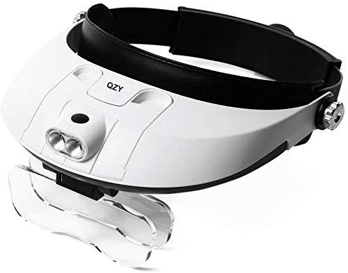 MKKSLR Lupe, 1 x bis 3,5 x Kopfhalterung, Lupe mit LED-Licht, professioneller Juwelier-Elektronik-Reparatur-Lampenhalter