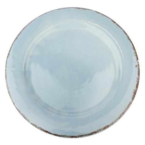 Gina Da Teller Tosca Ø 31cm Keramik Servierteller Flacher Speiseteller Pizza Geschirr Landhaus Shabby (Hellblau)