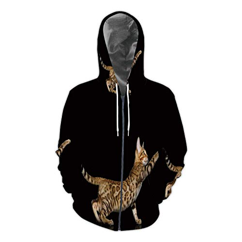 Bengal Kitten on Black Background Domestic Cat,Men/Womens Warm Outerwear Jackets and Hoodies Bengal Cat - Purebred Cat S