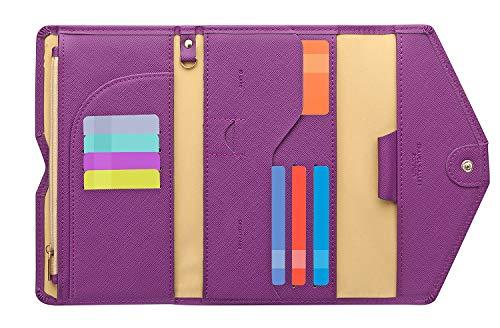 Zoppen Ver. 4 Reiseetui, RFID-blockierend, Ausweis, Reisepass, dreifach faltbar, Dokumenthalter, #20 Aubergine Purple (Violett) - TG001