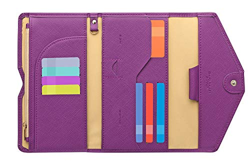 Zoppen Multi-purpose Rfid Blocking Travel Passport Wallet (Ver.4) Tri-fold Document Organizer Holder, Aubergine Purple