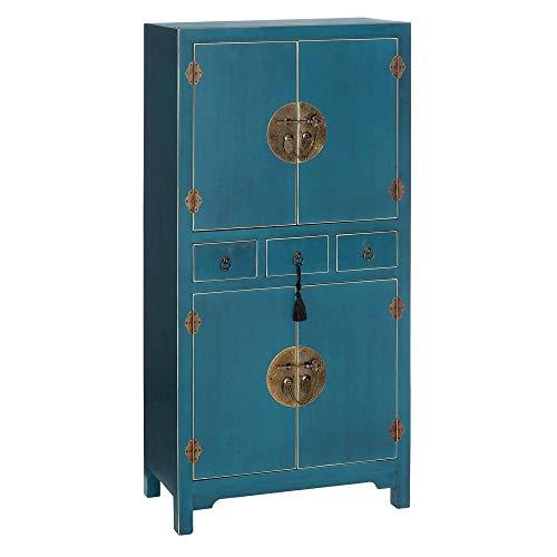 PEÑA VARGAS - Mueble Auxiliar - Armario Oriente Azul 4 Puertas 3 Cajones (63x33x131)