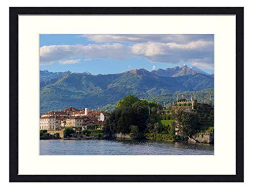 OiArt Wall Art Canvas Prints Wood Framed Paintings Artworks Pictures(20x14 inch) - Panoramic Nature Mountain Panorama Lake Maggiore