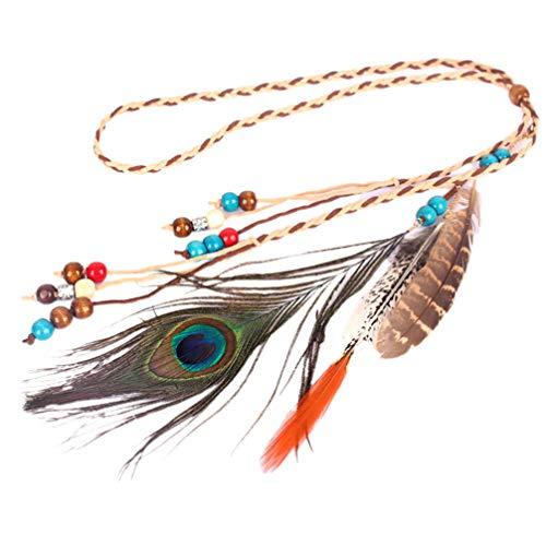 Lurrose diadema de plumas de pavo real bohemia diadema