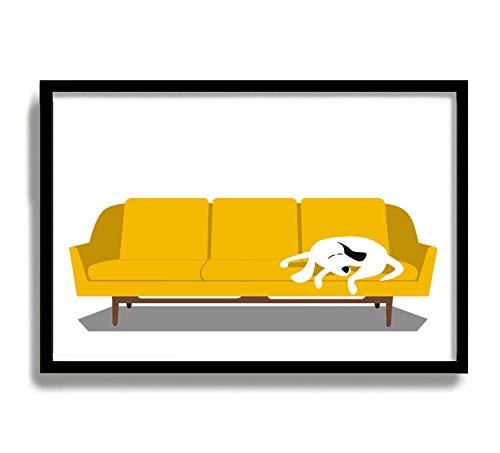 Arte moderno de pared de mediados de siglo Moderno Perro Blanco Moderno Sofá Moderno Regalo Amante del Perro Diseño Escandinavo Kitsch Decoración Estilo Contemporáneo