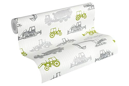 Esprit Kids Vliestapete Tractors Tapete 10,05 m x 0,53 m grau grün weiß Made in Germany 357061 35706-1
