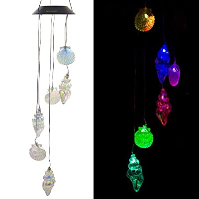 Eleven Direction Solar Wind Chimes,Color Changing Shell Conch Solar Lights,Decoration for Lawn,Patio,Yard,Garden,Bedroom,Outdoor