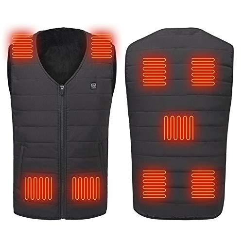 Ewendy Chaqueta climatizada Slim Fit – Chaleco calefactor para ropa caliente al aire libre con diadema – Recargable, lavable y ligero por USB para hombres, mujeres