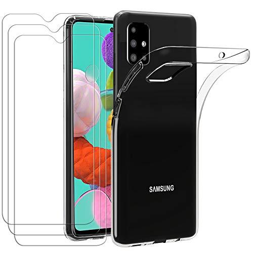 iVoler Custodia Cover per Samsung Galaxy A51 + 3 Pezzi Pellicola Vetro Temperato, Ultra Sottile Morbido TPU Trasparente Silicone Antiurto Protettiva Case per Samsung Galaxy A51
