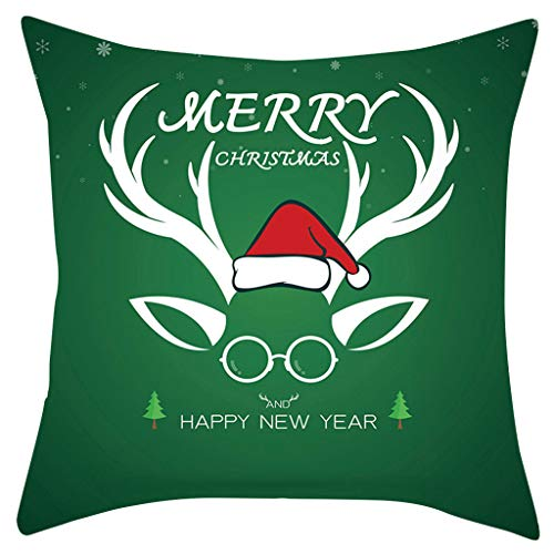 Hffan Weihnachtskissenbezug 45x45, Kissenhülle Dekorative Dekokissen mit Verstecktem Reißverschluss Sofa Schlafzimmer Auto 18x 18Inch