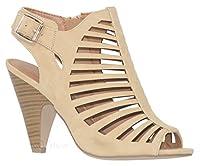 MVE Shoes Women's Chunky Heel Open Toe Back Zipper Heeled Sandal, Shaky Beige 5.5 from