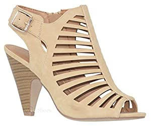 MVE Shoes Women's Chunky Heel Open Toe Back Zipper Heeled Sandal, Shaky Beige 5.5 from