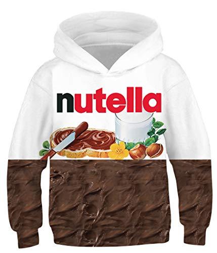 Amenxi Kinder Junge Mädchen Hoodies 3D Drucken lebendige Tier Cartoon Grafik Sweatshirt Tasche Pullover Hoodie für 4-16 Jahre (Nutella, Höhe: 155-165 cm)