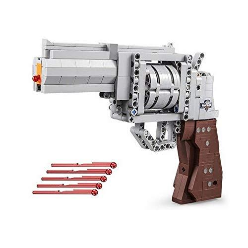 Brigamo Technik Bausteine Pistole Colt Revolver mit Schußfunktion, 475 Klemmbausteine