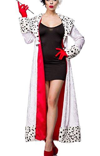 Damen Dalmatiner Outfit Kostüm Kleid mit Mantel im Dalmatiner Look und Handschuhe in Evil Dalmatian Lady S