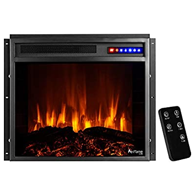 """e-Flame USA Jackson 25""""x21"""" LED Electric Fireplace Stove Insert with Remote - 3D Logs and Fire (Black)"""