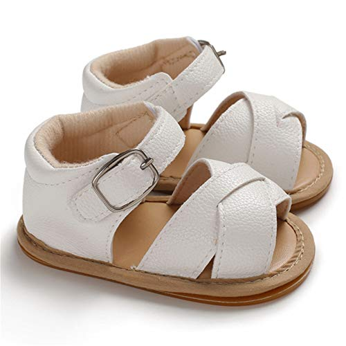 Isbasic Infant Baby Pu Leather Sandals for Toddler Boys Girls Rubber Sole Anti-Slip Slippers Dress Shoes, A-white, 12-18 Months Toddler