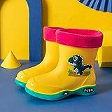 TOBEONE Zapatos de agua para bebé niña niño zapatos impermeables lindos botas de lluvia niños PVC caucho dinosaurio patrón zapatos de lluvia con terciopelo extraíble