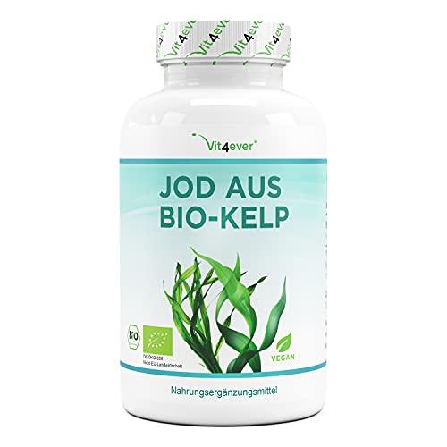 Bio Kelp (Iodio naturale) - 365 compresse ciascuna con 200µg di iodio da alghe marroni organiche - Senza additivi indesiderati - Altamente dosato - Vegan