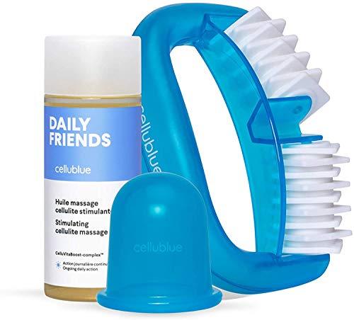 Cellublue - Anti-Cellulite Ausprobier Kit   3 Basics : Cellulite Schröpfcup + Orangenhaut-Massagegerät + Massageöl - Wirksam in 5 Minuten