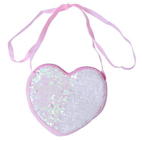 FENICAL bolso bandolera con lentejuelas monedero mini bolso mensajero con forma de corazón para niñas - rosa
