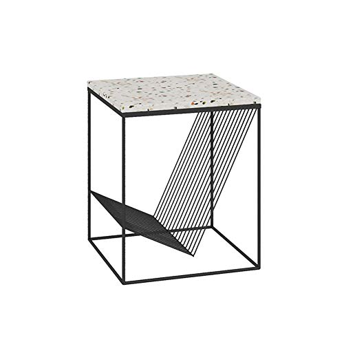 JUAN-Lapdesks Beistelltisch-Nordic Terrazzo Kreative Sofa Kleinen Couchtisch Modernen Minimalistischen Eisentisch Geeignet Für Schlafzimmer/Wohnzimmer/Balkon, 45x45x50CM