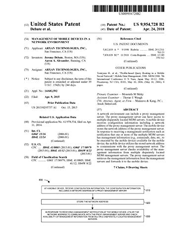 Management of mobile devices in a network environment: United States Patent 9954728 (English Edition)