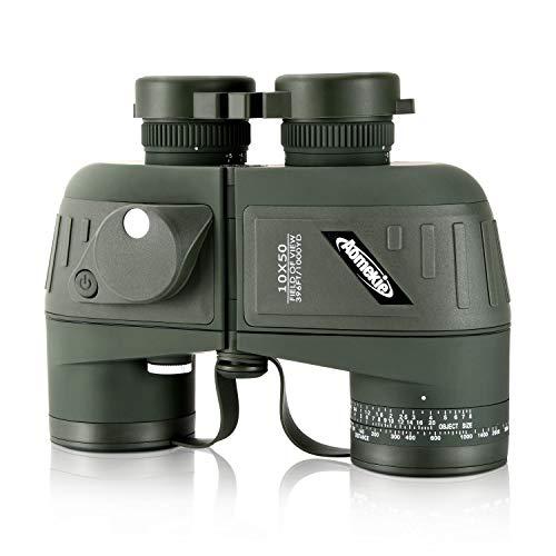 Aomekie Fernglas mit Entfernungsmesser Nachtsicht Kompass 10X50 Ferngläser Feldstecher Wasserdicht BAK4 FMC mit Tasche und Gurt