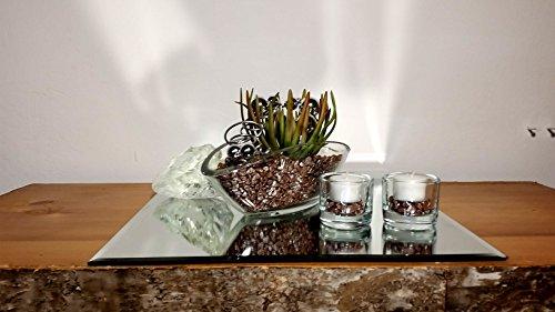 Tischgesteck Tischdekoration Nr. 3 Glasschale mit Sukkulente taupe Kies Blumendekoration