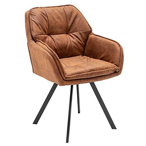 Invicta Interior Drehbarer Retro Design Stuhl MR. Lounger Hellbraun mit Armlehne Esszimmerstuhl Drehbar
