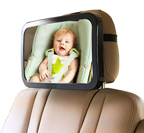 Enovoe Baby Car Mirror with Cleaning Cloth - Wide, Convex Back Seat Baby Mirror for Car is Shatterproof and Adjustable - 360 Swivel Rear Facing Car Seat Mirror Helps Keep an Eye on Your Infant