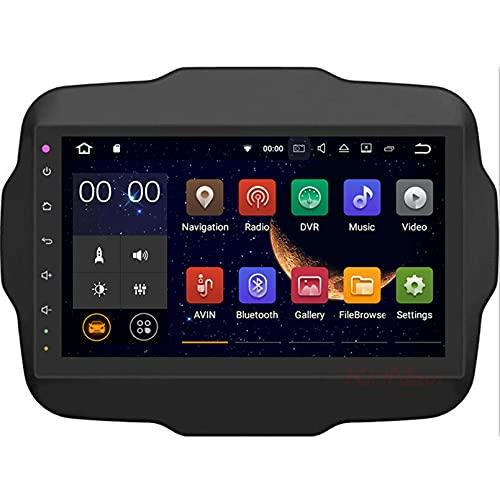 Android 10.0 9 Pulgadas Radio Satelital Para Automóvil Reproductor Multimedia Autoradio 2.5D Navegador GPS Para JEEP RENEGADE 2016-2018 Con WiFi Bluetooth Control Del Volante(Color:WIFI 4G+64G)